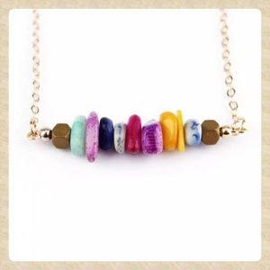 ❤Jewel-toned Stone Bar Necklace